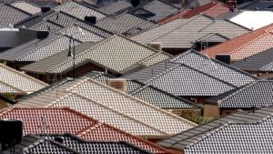 Rooftops of houses in suburban Australia