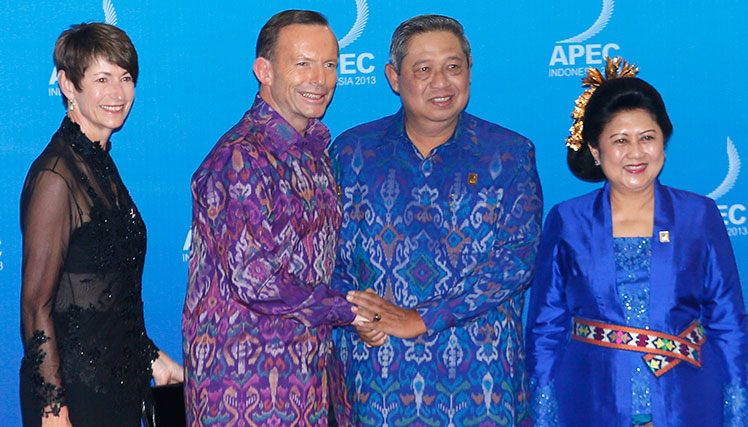Australia's Prime Minister Tony Abbott and wife Margaret Aitken with Indonesia's President Susilo Bambang Yudhoyono and his wife Ani Yudhoyono in October.