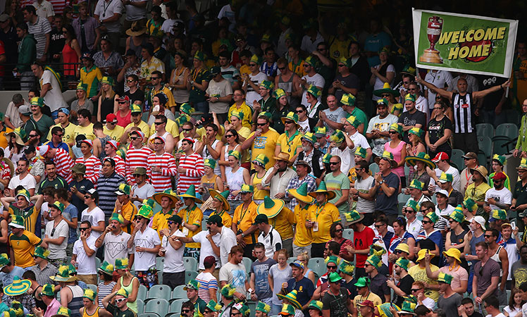 Record crowd ... fans pack the stands at the MCG for the Boxing Day Test.