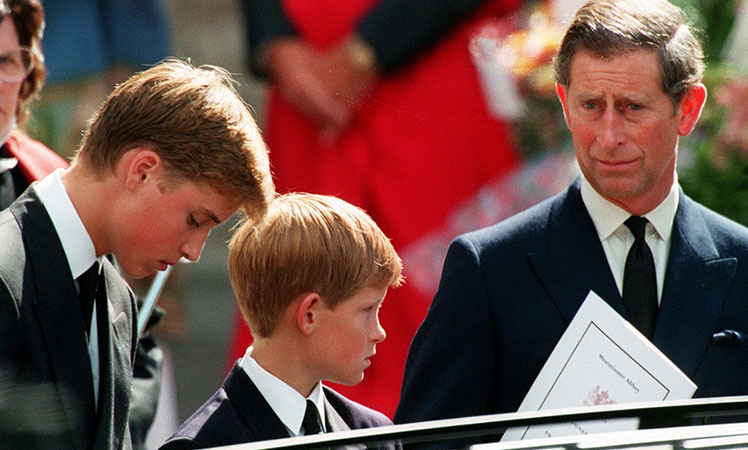 Prince Charles (right) and his sons, Prince William (left) and Prince Harry, at the funeral of Princess Diana.