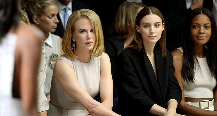 Nicole Kidman (left) with Rooney Mara and Naomie Harris at a Calvin Klein fashion show.