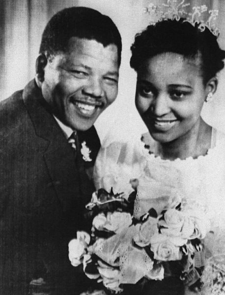 Mandela and his first wife, Winnie, in their wedding photo in 1957.