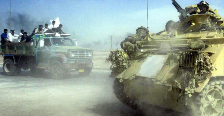 A British armoured vehicle on the outskirts of Basra