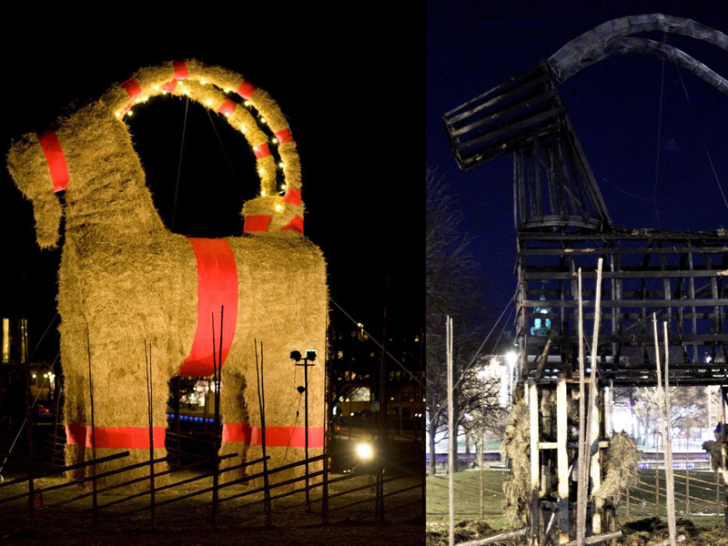 A combo picture shows the traditional Gaevle Christmas goat Sweden