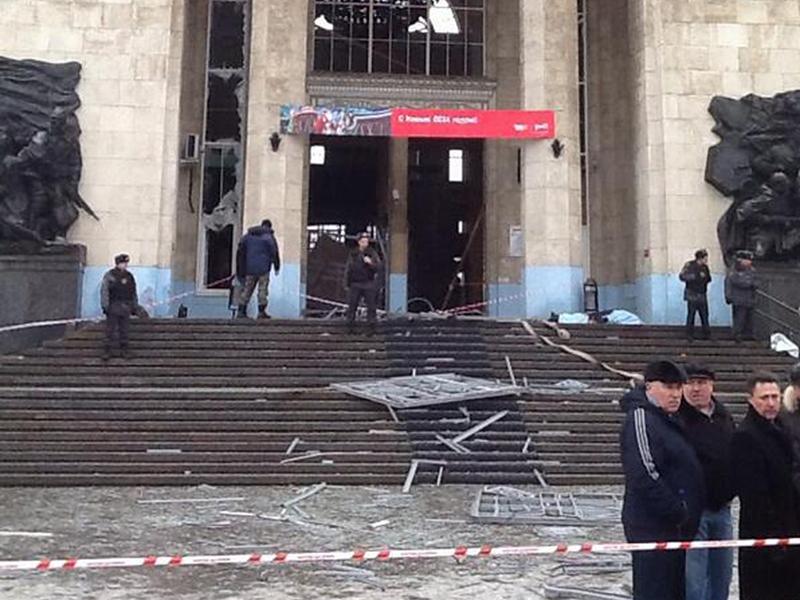 debris lies outside an entrance to Volgograd railway station