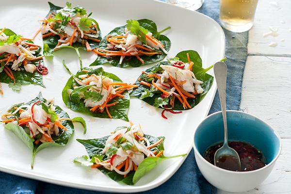 Asian Crab Salad in Betel Leaves.