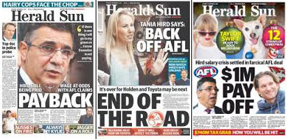 Recent front pages of Melbourne's The Herald Sun.