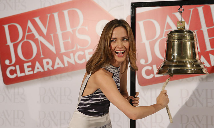 Actress Rose Byrne rings the bell to start the Boxing Day sale at David Jones' Sydney CBD store today.