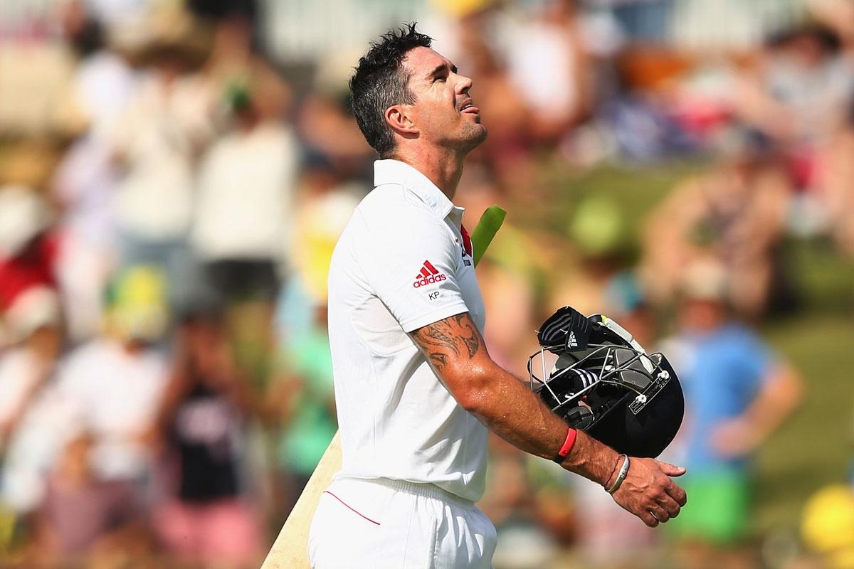 Kevin Pietersen leaves the WACA.