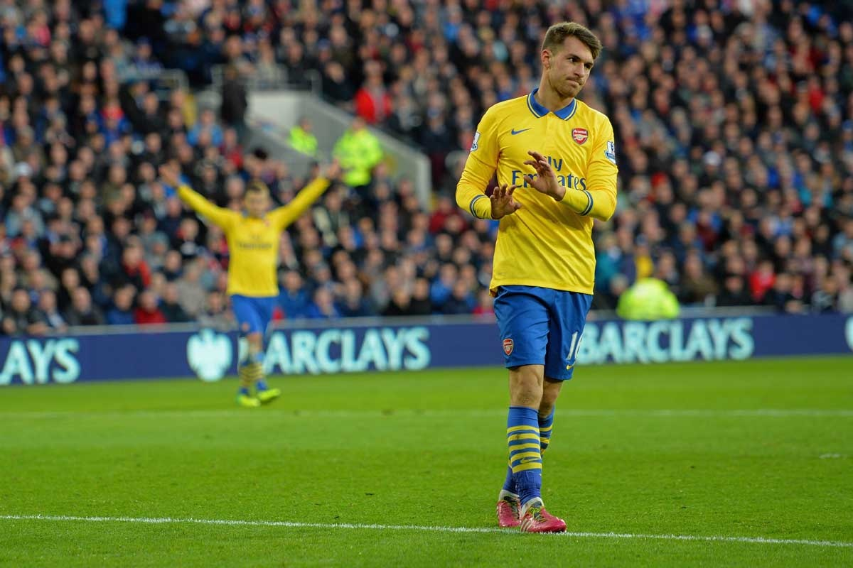 Arsenal's Aaron Ramsey declines to celebrate after scoring against former club Cardiff.