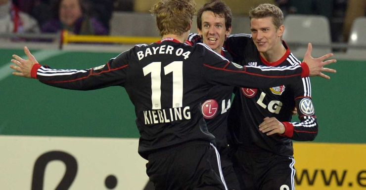 Robbie Kruse is the centre of attention after scoring for Leverkusen.