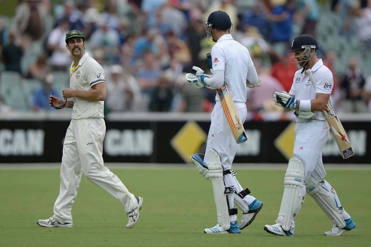 The banter between Johnson and the English batsmen continued after play.