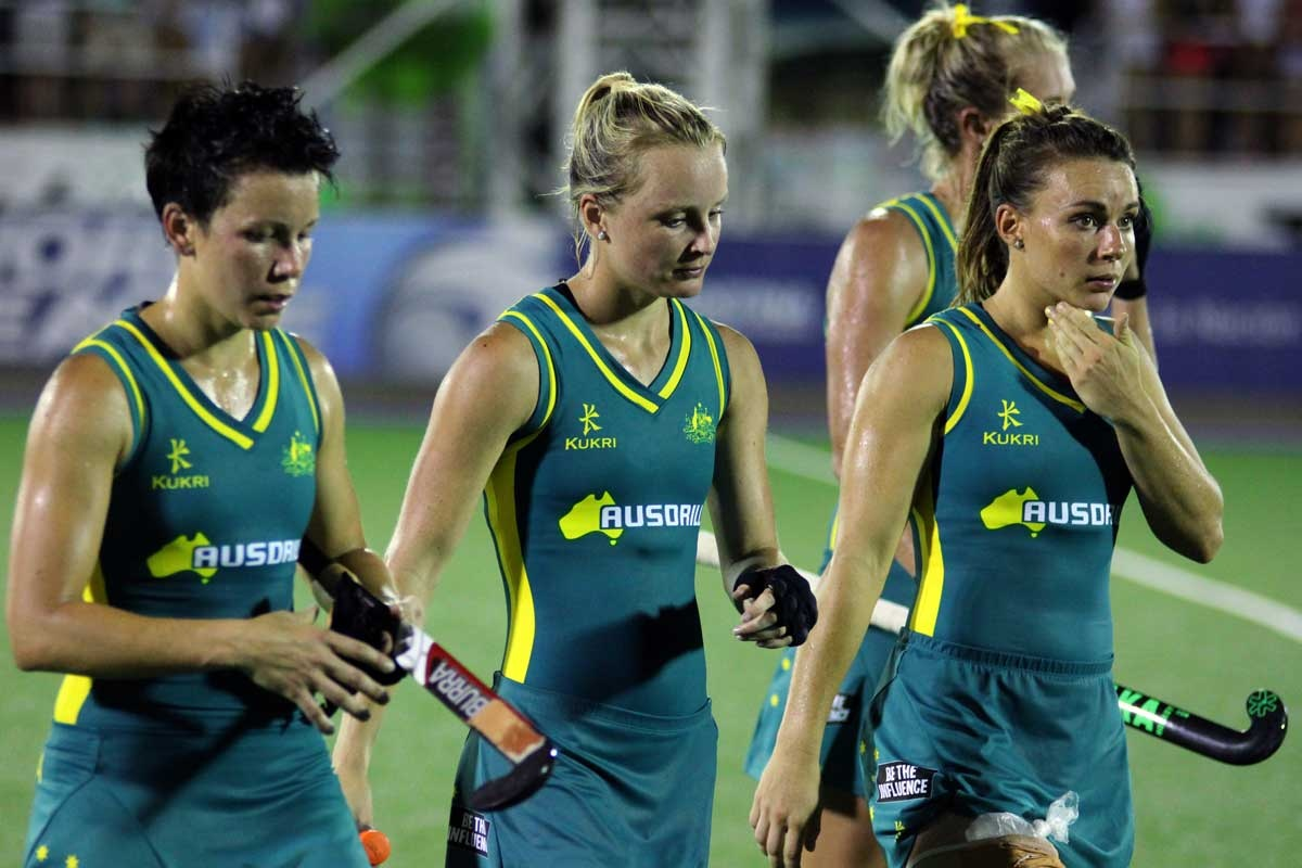 The Hockeyroos after their 5-1 loss to the Netherlands.