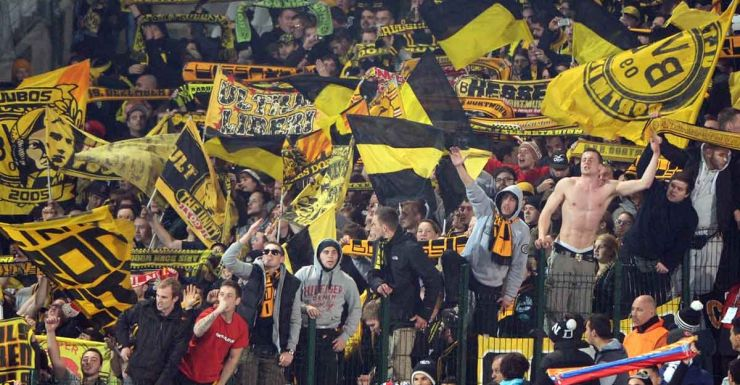 On the march: Dortmund fans.