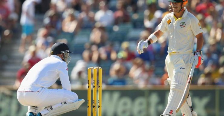 Funny for some: Prior misses a chance to stump Warner.