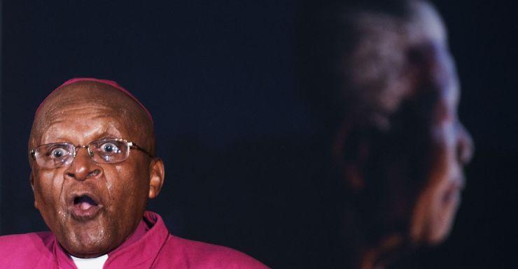 Archbishop Desmond Tutu at the memorial service for Nelson Mandela.