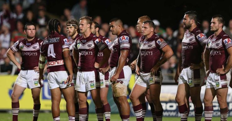 In the clear: the Manly players in 2013.