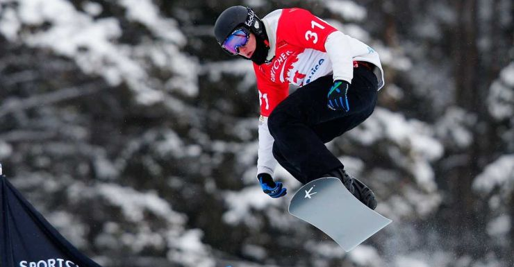 Jarryd Hughes in action at Lake Louise.