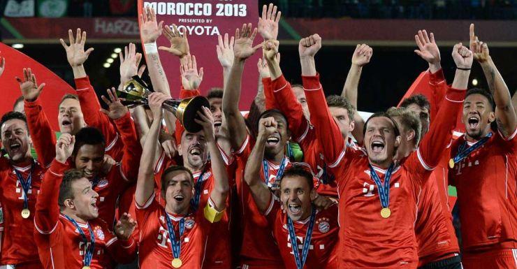 Bayern Munich celebrate winning the 2013 FIFA Club World Cup final.