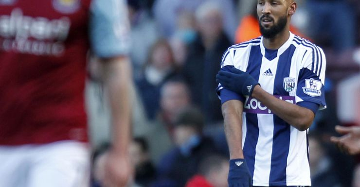 Nicolas Anelka gestures after scoring for West Bromwich Albion.