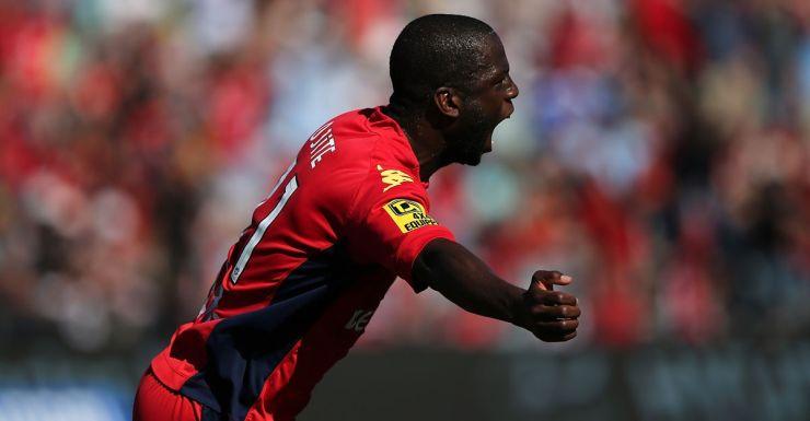 Bruce Djite of Adelaide United celebrates after scoring against Newcastle.