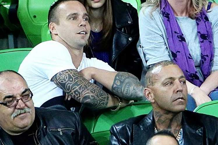 A News Ltd photograph of Jake King and Toby Mitchell at the 'lingerie' football.