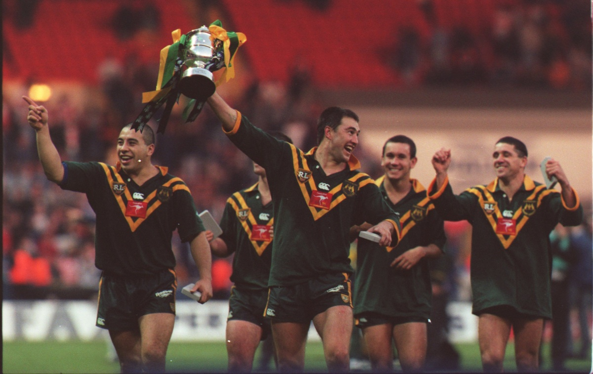 Andrew Johns and teammates celebrate their 1995 World Cup win.
