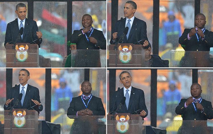 Bad sign ... the 'interpreter' translates for Barack Obama.