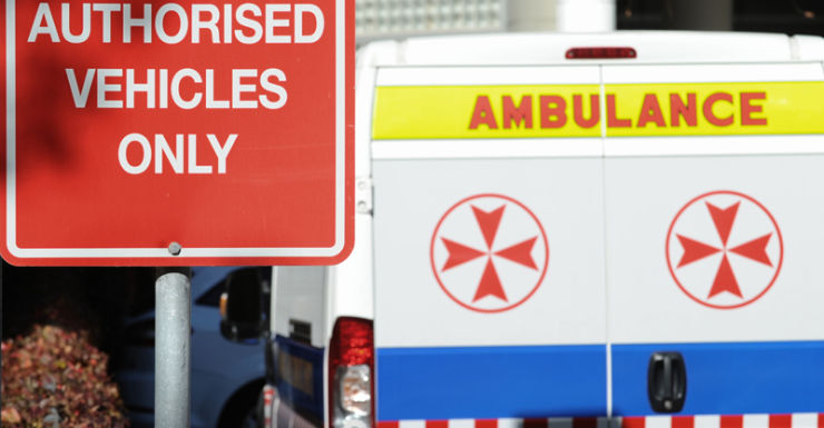 An ambulance at a hospital