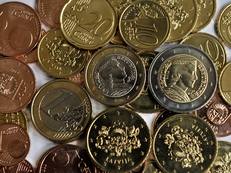 Newly minted Latvian Euro coins