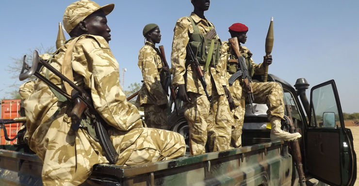 South Sudan army soldiers after recapturing Bor from rebels