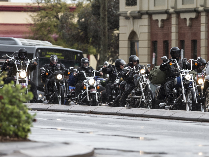 Members of the Rebels bikie gang ride around Kalgoorlie