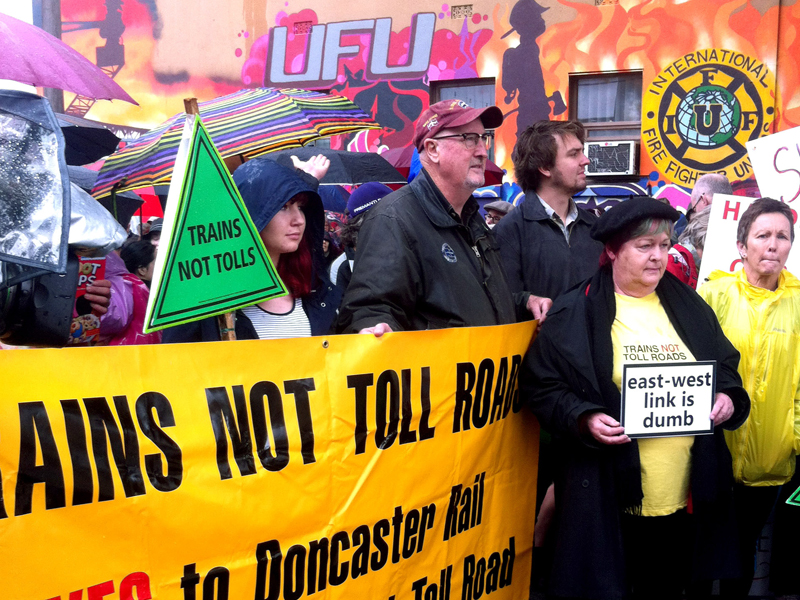 Local residents protesting against Melbourne's East West Link