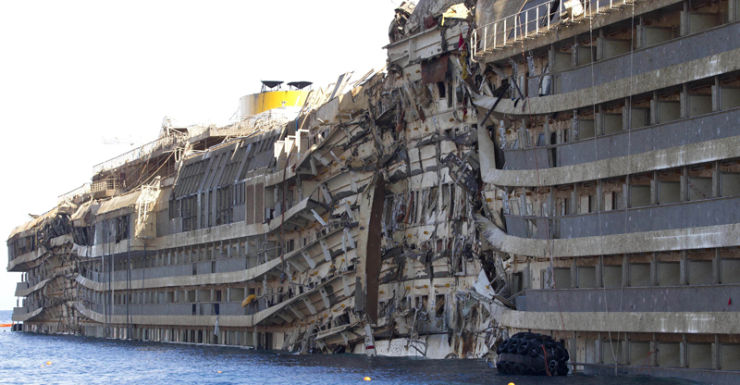 The wreck of the Costa Concordia cruise liner