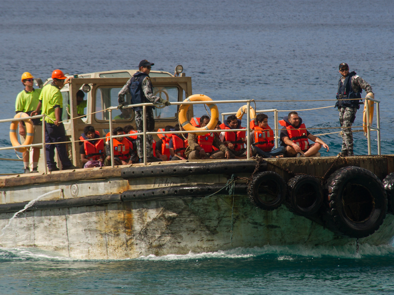 A group of asylum seekers arrive on Christmas Island