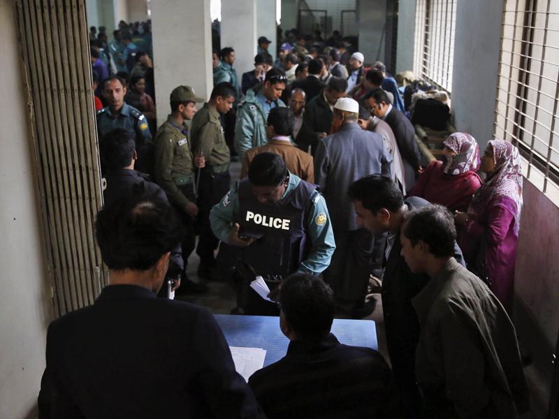 Bangladeshi election officials and policemen