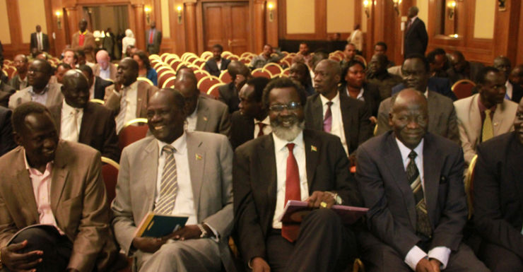 The delegates of the South Sudan at a press conference, Ethiopia