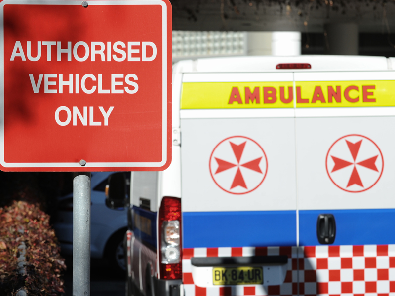 Ambulances at St Vincent's Hospital in Darlinghurst, Sydney