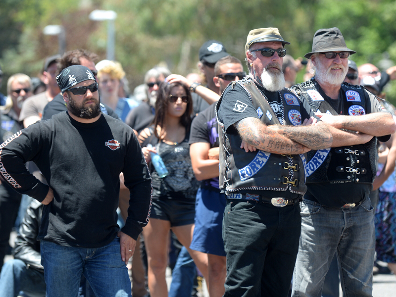 Bikies attend a protest in front of Old Parliament House in Canberra