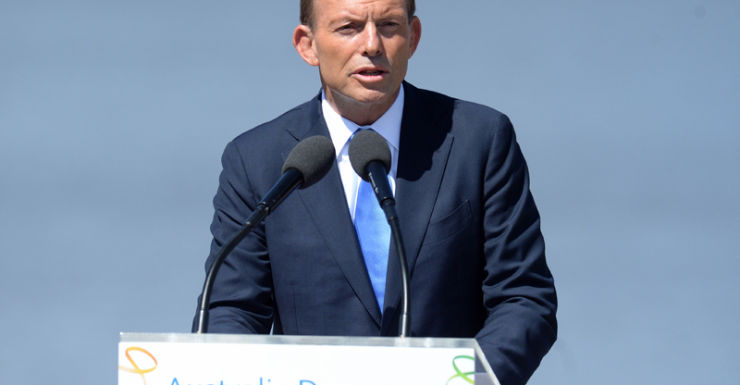 PM Tony Abbott at the Australia Day citizenship ceremony in Canberra