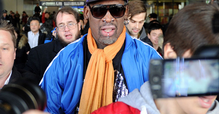 Former US basketball player Dennis Rodman arrives in Beijing