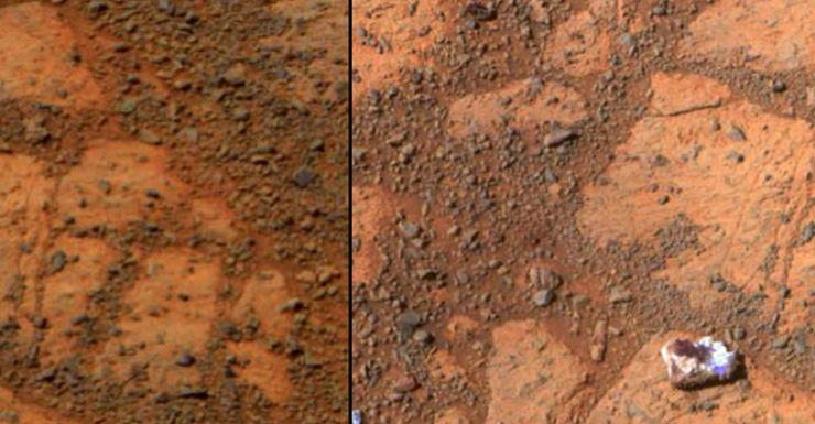A rock shaped like a jelly doughnut (R) on the Mars surface