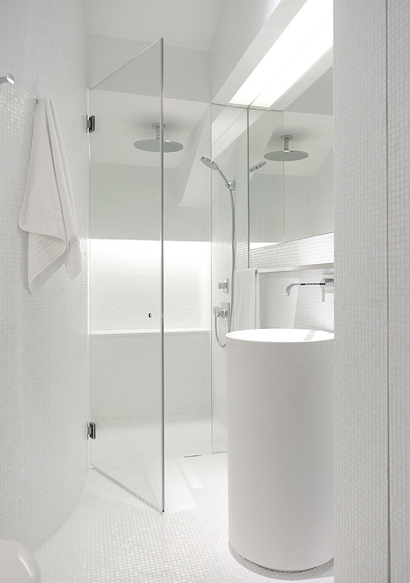 White Modern Minimalist Bathroom