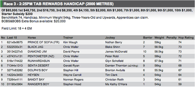 Race 3 at Rosehill on Saturday is a benchmark 74 over 2000m. Full fields and form available at http://www.risa.com.au