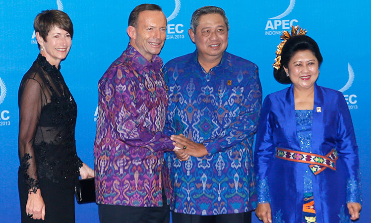 Australia's Prime Minister Tony Abbott and wife Margaret Aitken pose with Indonesia's President Susilo Bambang Yudhoyono and his wife Ani Yudhoyono before the APEC Summit in Bali last year.