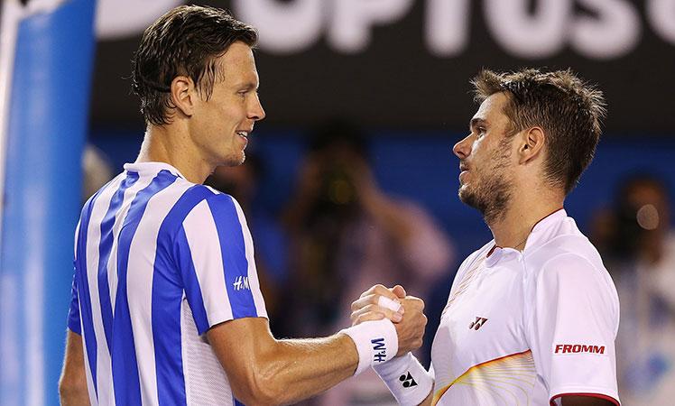 Respect ... Czech Tomas Berdych (left) congratulates Stan Warwinka.