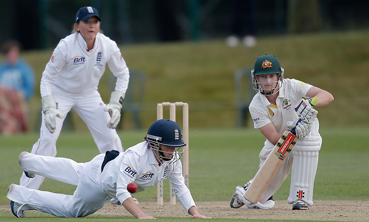 Meg Lanning (right) in action for Australia during the Ashes Test in England in August, 2013.