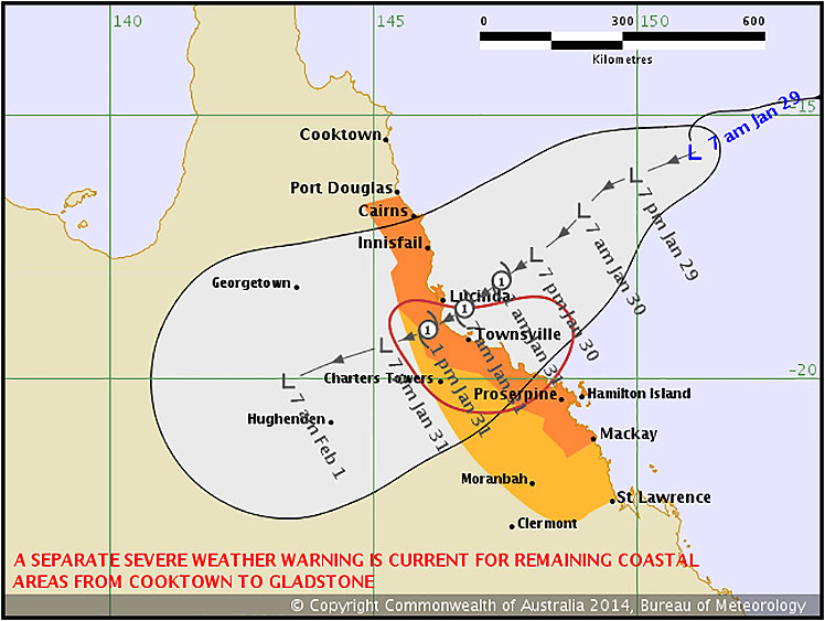 A Bureau of Meteorology map showing the path of the cyclone.