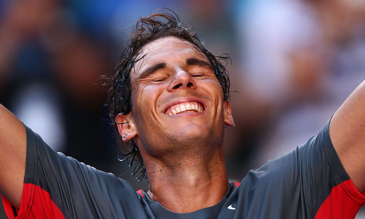 Relief ... Rafael Nadal reacts after beating Grigor Dimitrov.