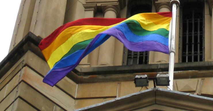 A rainbow flag at Sydney Town Hall